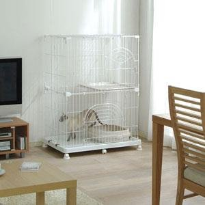 2 Tier-Wire Tower Small Animal Cage – Cat Cage PEC-902 WHITE, My Pet Supplies