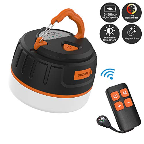 Sinvitron LED Camping Lantern Rechargeable/Power Bank 6400mAh, Dimmable Portable Camping Tent Light W/Remote Control, Magnet Base, 5 Light Modes - Survival Kit for Emergency, Hurricane, Power Outage