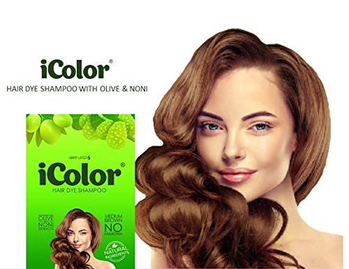 iColor Organic Hair Dye Shampoo Medium Brown 25ml (0.85 ounces) x 10 sachets in a box