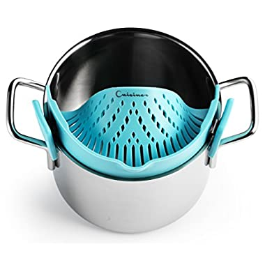 Cuisiner Hands Free Clip-On Strainer Light Blue | Compact & Flexible Silicone Clip On Drainer | Fits All Pot, Pan & Bowls | Food Pasta Spaghetti Vegetables Ground Beef Grease Colander
