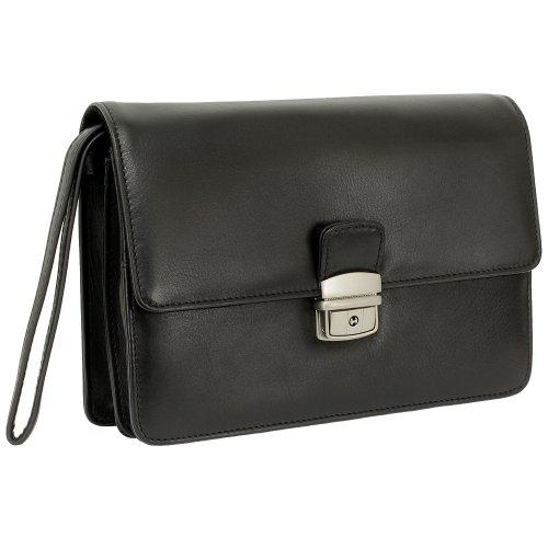 Branco Business Herren Handgelenktasche Herrentasche Damen Damentasche Tasche schwarz Leder - sehr hochwertig