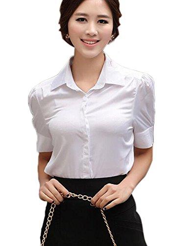 (Aro Lora Women's Short Ruffled Sleeve Silk Casual Shirt Tops Blouse Large White)