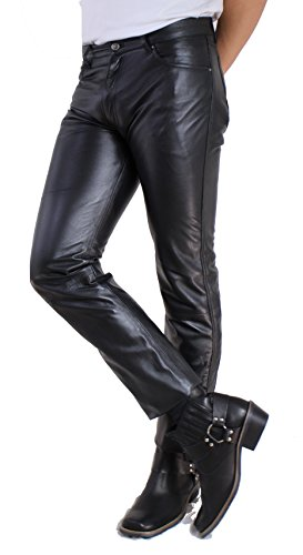 Lamm Nappa Jeans von RICANO Herren Lederhose, Lamm Nappa Echtleder, schwarz