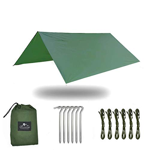 Wecamture Hammock Rain Fly Tent Tarp Lightweight Portable Waterproof Ripstop Nylon Rain Tarp Large Canopy 10'×10' 6 Stakes 6 Ropes and Compression Sack Included