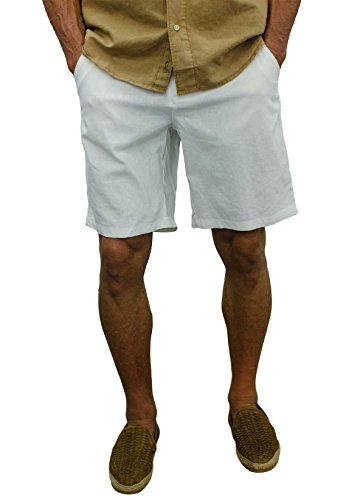 Short Fin Linen Walking Shorts (Size 36, White L8000) ()