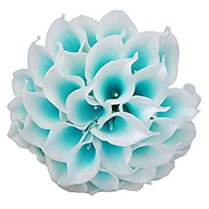 Lily Garden Luxury Calla Lily Bridal Wedding Bouquet 3 Dozen with Groom Boutonniere (Turquoise Picasso) 51
