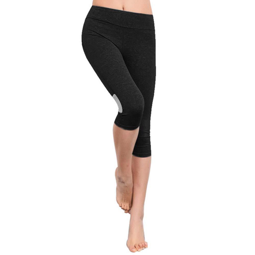 TALLA XL. Litthing Pantalones Medios de Yoga Pilates de Cintura Flares Elástico Transpirable Suave Cómodo Deportivo Correr Ejercicio Aeróbico Running Paseo Gym Deportes Atléticos Capri Pants para Mujer Negro