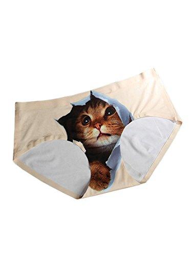 FasiCat ropa interior de las bragas Ropa interior atractiva de la muchacha de las mujeres para las bragas Crotchless Beige