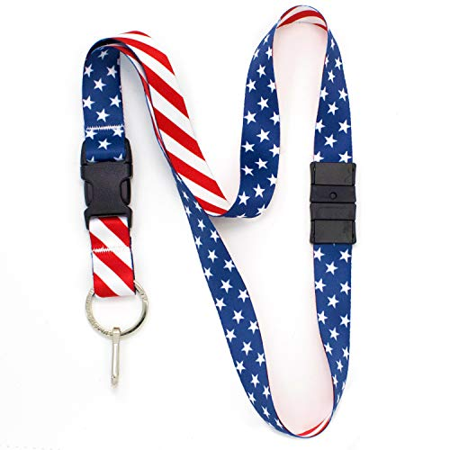 (Buttonsmith Stars and Stripes Breakaway Lanyard - with Buckle and Flat Ring - Made in The USA)