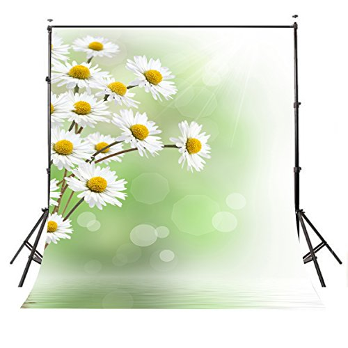 LYLY COUNTY 5×7ft Polyester Photo Studio Props Backdrops Green Baby Children Theme Little White Daisy Photo Photography Background BG253 County Daisy