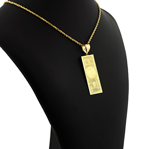 LoveBling 10K Yellow Gold Hundred Dollar Bill Diamond Cut Charm Pendant (2.60'' x 0.85'') by LOVEBLING (Image #2)