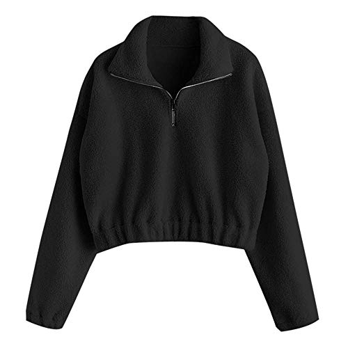 ZAFUL Women's Fashion Long Sleeve Lapel Half Zip Plain Faux Fur Sweatshirt Solid Color Crop Pullover Tops Black M (Crop Tops For Winter)