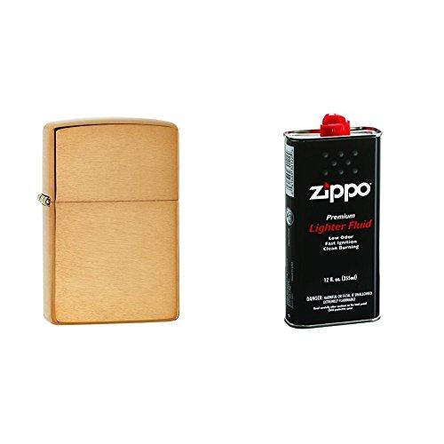 Zippo Lighter Solid Brass Text Brushed Brass Pocket Lighter with 12 oz Lighter ()