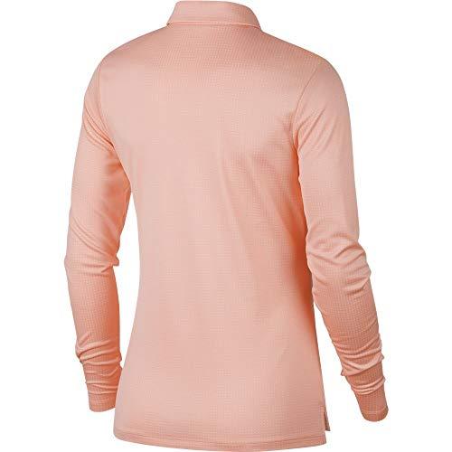 NIKE Dry Longsleeves Core Circular Knit Jacquard Golf Polo 2019 Women Storm Pink/Flat Silver Small
