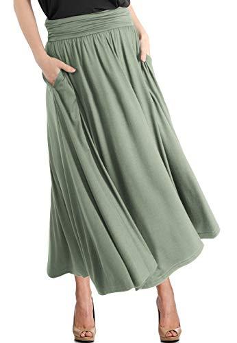 TRENDY UNITED Women's High Waist Fold Over Pocket Shirring Skirt (S0035-DGRN, M)
