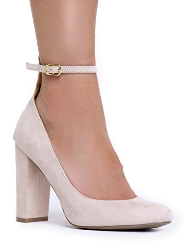 Ankle Strap High Heel - Trendy Block Heel Pump - Classic Ankle Buckle Party Shoe - Strappy Suede Formal Heels