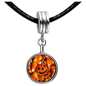 Chicforest Silver Plated Halloween pumpkin corn candy Photo Black Crystal Flower dangle Charm Beads Fits Pandora Charms