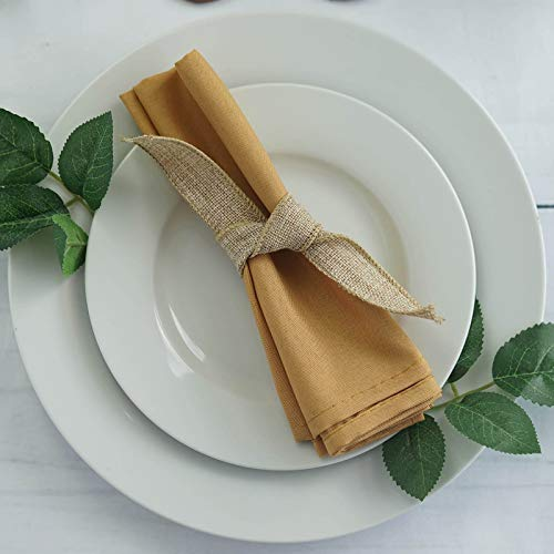 Efavormart 20x20 Gold Wholesale Polyester Linen Napkins for Wedding Birthday Party Tableware - 5 PCS