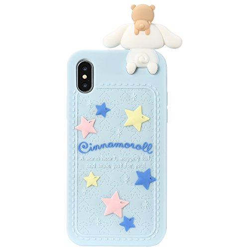 Blue Dog Puppy Luxury Designer Soft Silicone Rubberized 3D Cartoon Case for iPhone X iPhoneX 10 Cute Lovely Fresh High Fashion Kawaii Cool Japanese Gift for Teens Little Girls Women (Cinnamoroll)