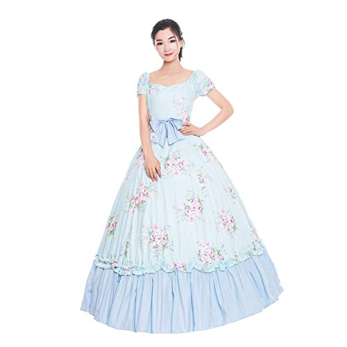 Southern Bell Dress 19 Century Civil War Southern Belle Gown/Party Dresses/Victorian Dresses (XS, Blue)]()