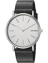 Skagen Mens Signatur Quartz Titanium and Leather Casual Watch, Color:Black (Model: SKW6419)