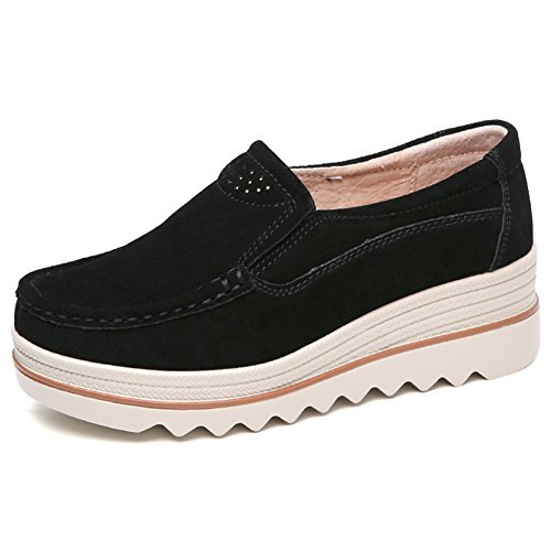 Lakerom Women's Slip On Loafers Platform Comfort Suede Moccasins Wide Low Top Wedge Shoes Work Shoes Black YmGh470qUp