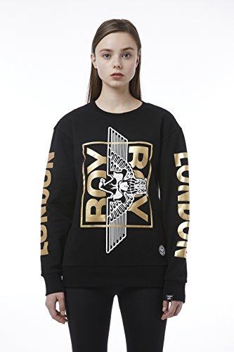 BOY London Unisex (S,M,L,XL) 18SS Skull Eagle Basic Fit Sweatshirt - Black-Gold,Whtie-Gold New_ (BH1SS101) (Black-Gold, Medium) by BOY London