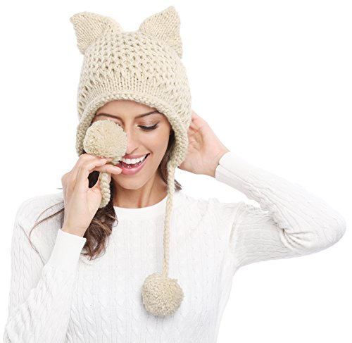 494d2ef6ec7 Bellady Winter Cute Cat Ears Knit Hat Ear Flap Crochet Beanie Hat ...