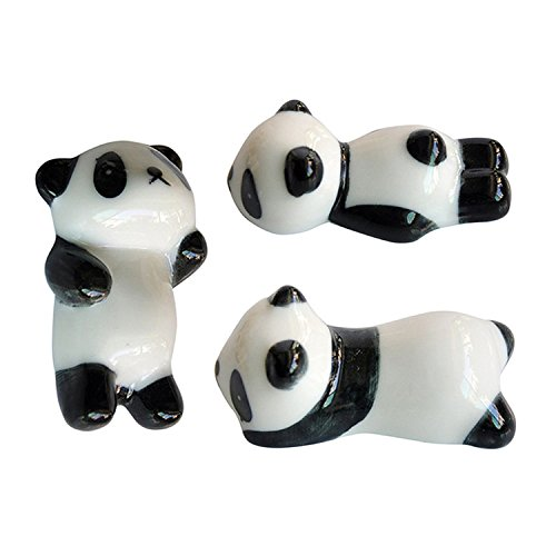 3pcs Chopsticks Holder for Japanese Groceries Black and White Panda Chopsticks Holder Ceramic Panda Decorations Easy-topbuy