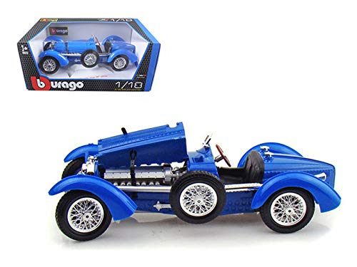 BBurago - Bugatti Type 59 Convertible (1934, 1/18 scale diecast model car, Blue) 12062 diecast motorcycles and cars
