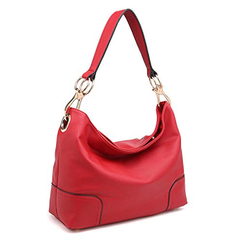 (Dasein Women's Classic Faux Leather Hobo Purse Shoulder Bag Tote Handbag (7676- Red))