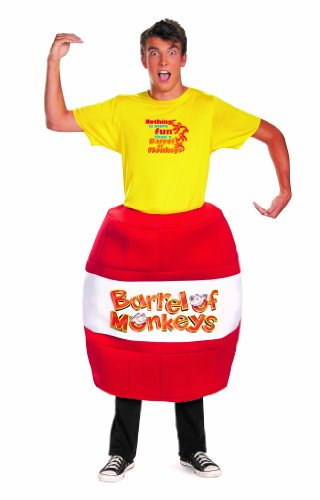 Barrel Man Costume (Disguise Hasbro Games Barrel Of Monkeys Deluxe Mens Adult Costume, Red/Yellow, X-Large/42-46)