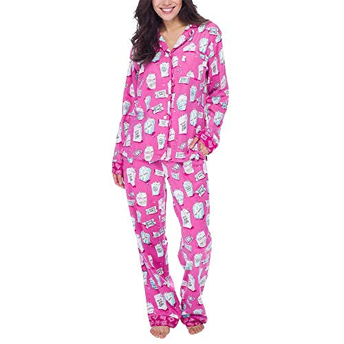 munki munki Women's 2-Piece Flannel Pajama Set, Pink, XX-Large