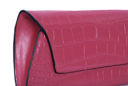 Fuchsia Dünne Clutch Tasche in Croc Verschönertes Leder von Smith & Canova