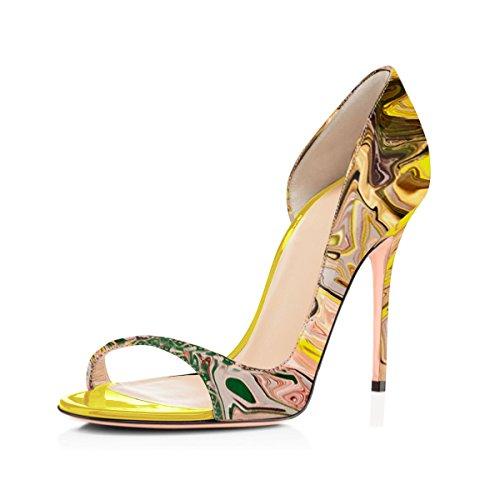 Pu Onlymaker Sandals Printing Multicolor Heel Fashion Spring High Toe Summer Women`s Peep wTTBqxI