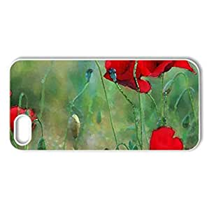 Poppies - Case Cover for iPhone 5 and 5S (Flowers Series, Watercolor style, White)