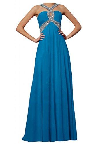 Toscana novia para mujer Rueckenfrei gasa largo vestido de noche vestidos de fiesta en vestidos de bola Prom Azul