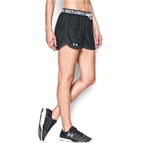 Under Armour Women's Play Up Mesh Short, Black/White, Medium