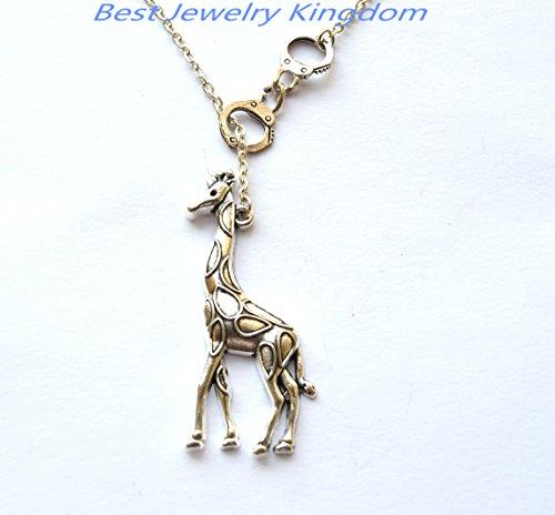 (Handcuff Necklace,Partners in Crime,Handcuff Jewelry,animal jewelry giraffe necklace, giraffe jewelry necklace, animal necklace)