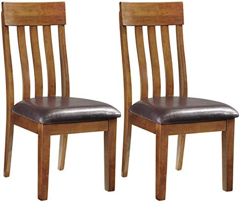 Signature Design by Ashley – Ralene Upholstered Dining Side Chair – Rake Back Style – Set of 2 – Medium Brown
