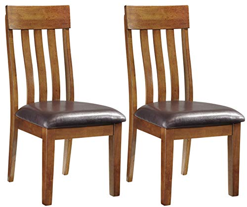 Ashley Furniture Signature Design - Ralene Upholstered Dining Side Chair - Rake Back Style - Set of 2 - Medium Brown ()