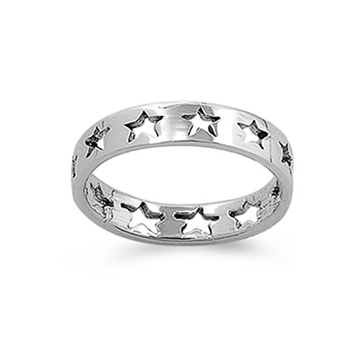 Sterling Silver Baby Star Eternity 4mm Band Beautiful Solid 925 Ring Size 6