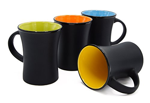 Ecodesign Drinkware Diner Flared Coffee Tea Cup - Set of 4 - Ceramic 8 oz Matte Black - w/Cork Coasters & ()