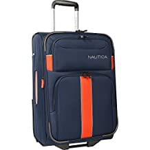 "Nautica Seaford 21"" Rolling Expandable Suitcase, Navy/Orange"