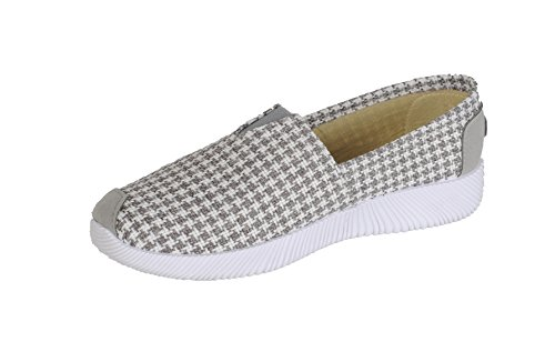 Auga Mujeres Lino Transpirable Classic Canvas Sneaker Cómodo Easy On And Off Slip On Zapatos Planos Ocasionales Livianos Gris