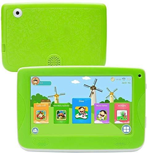 LLLCCORP 7 inch Kids Education Tablets Android 5.1 1280x800 IPS Display with Parental Control Software,Kid Proof Case,Screen Protector (Green)