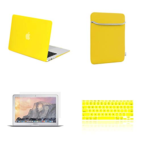 """TOP CASE 4 in 1 Bundle - Rubberized Hard Case Cover + Sleeve Bag + Transparent TPU Keyboard Cover + Screen Protector Compatible with Apple MacBook Air 11"""" Model: A1370 and A1465 - Yellow"""