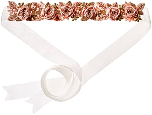 Twigs & Honey Women's Antique Silk Rose and Crystal Bridal Belt, Blush/Taupe, One Size by Twigs & Honey