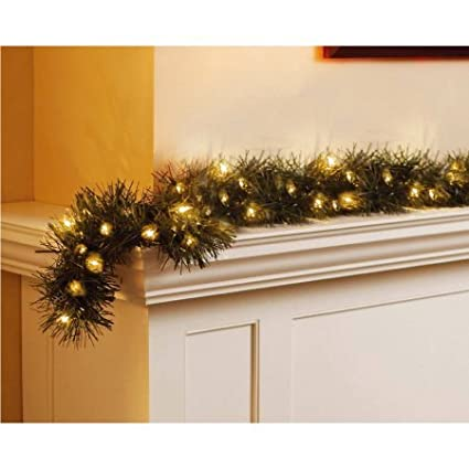 Holiday Time Pre-Lit 18' Christmas Garland, Clear Lights