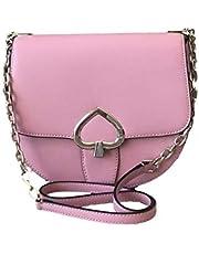 Kate Spade Medium Chain Saddle Bag Robyn Leather Handbag in Bright Carnation